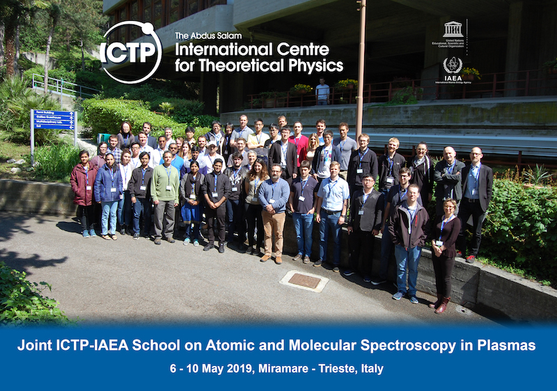 Group photo for the 2019 Joint ICTP-IAEA School on Atomic and Molecular Spectroscopy in Plasmas